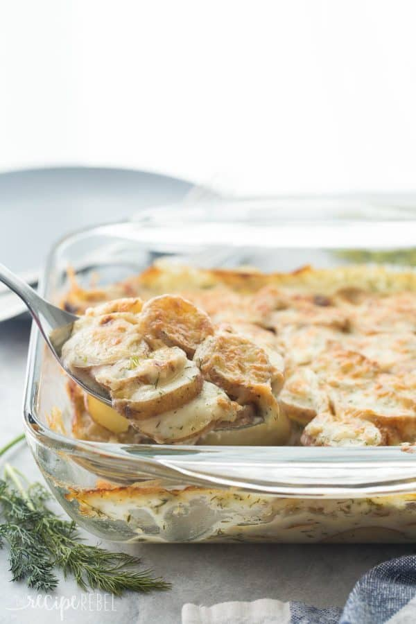 Light Creamy Dill Scalloped Potatoes