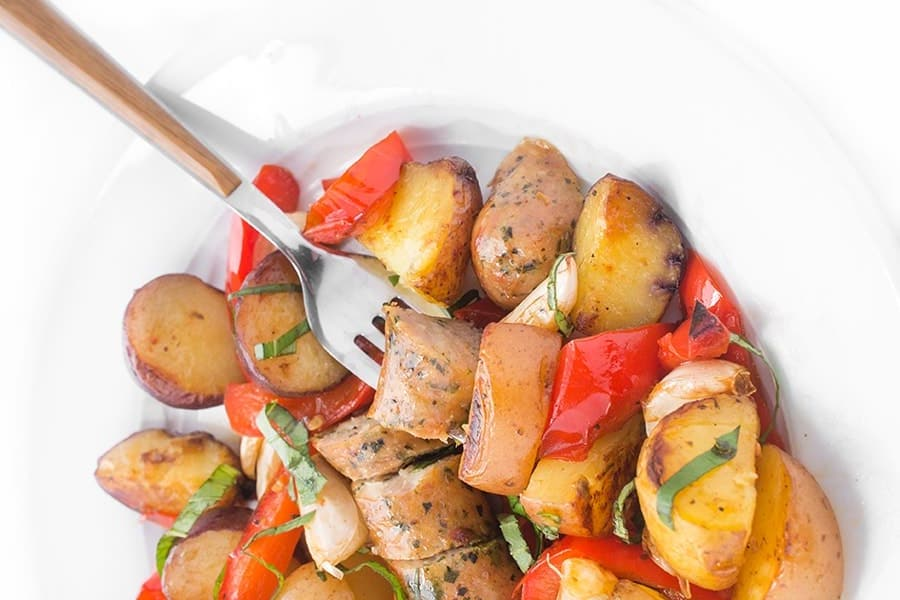 Grilled Sausage, Peppers and Potatoes