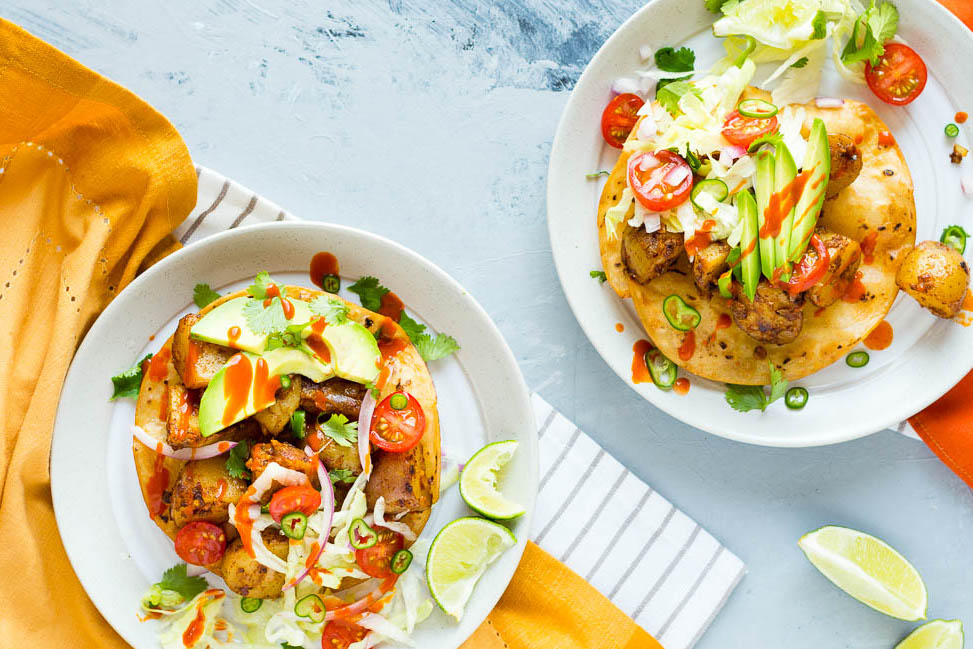 Easy Vegan Potato Tostadas