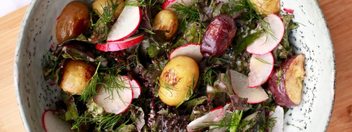 Red Kale and Potato Salad with Lemon Maple Dijon Dressing