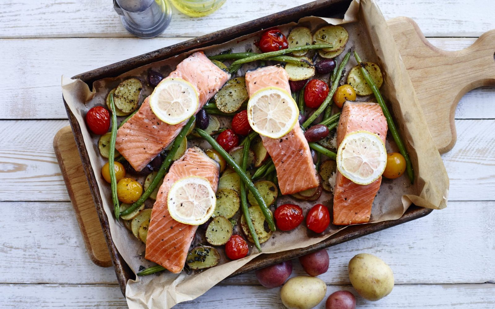 Date Night Salmon and Potato Bake with Mint Yogurt Sauce