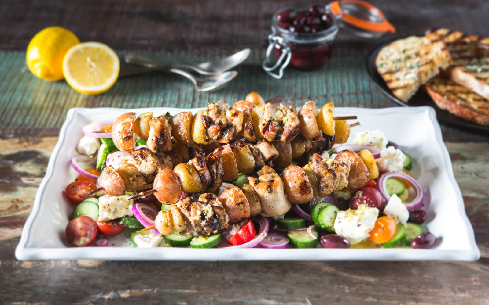 Grilled Greek Kebabs with Little Potatoes
