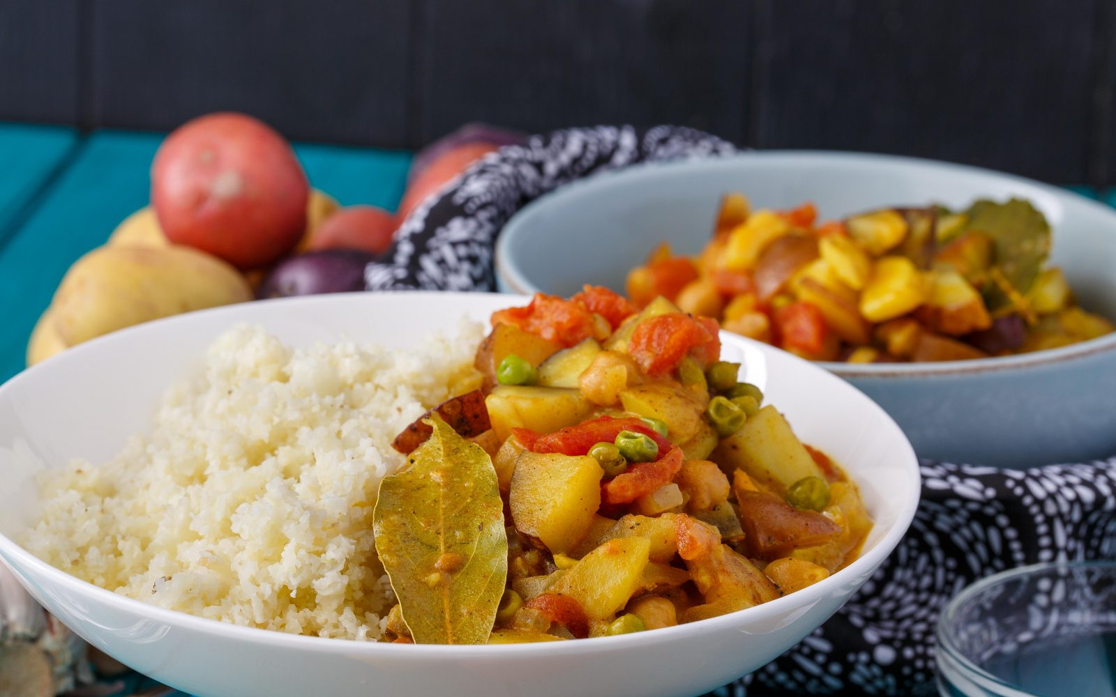 Vegan Curry Over Cauliflower Rice