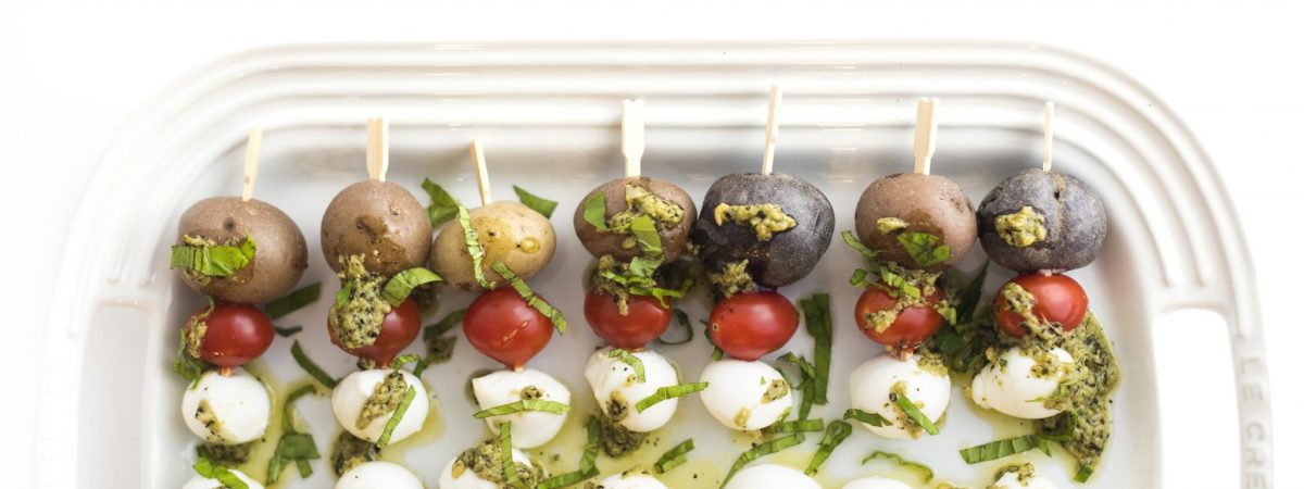 Pesto Caprese Potato Skewers