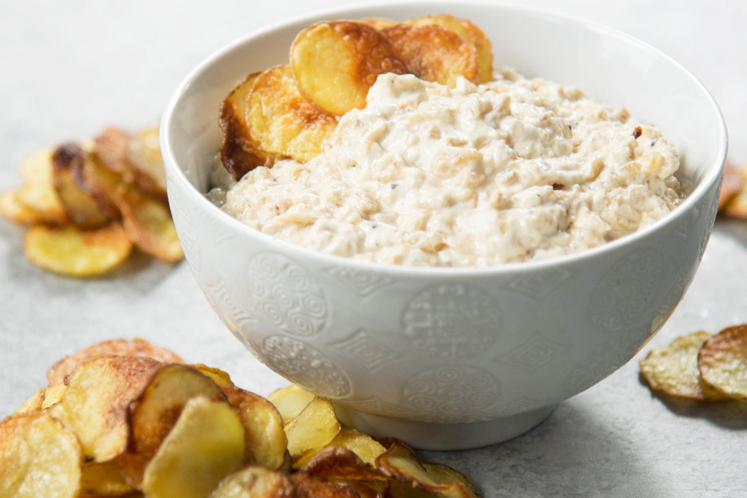 Caramelized Onion Dip with Baked Potato Chips