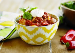 Chili con carne with potatoes