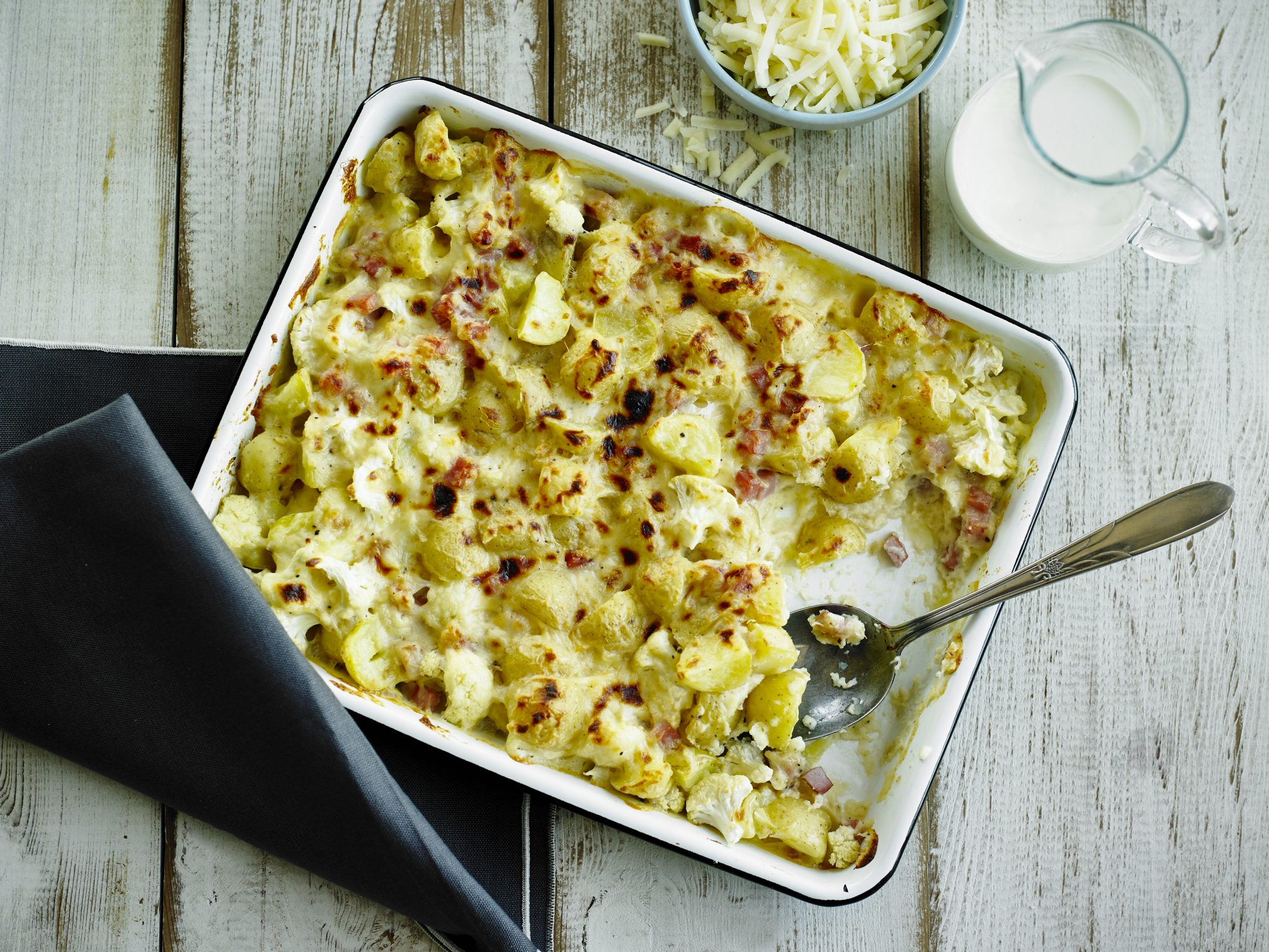 Potatoes au Gratin with Cauliflower and Ham