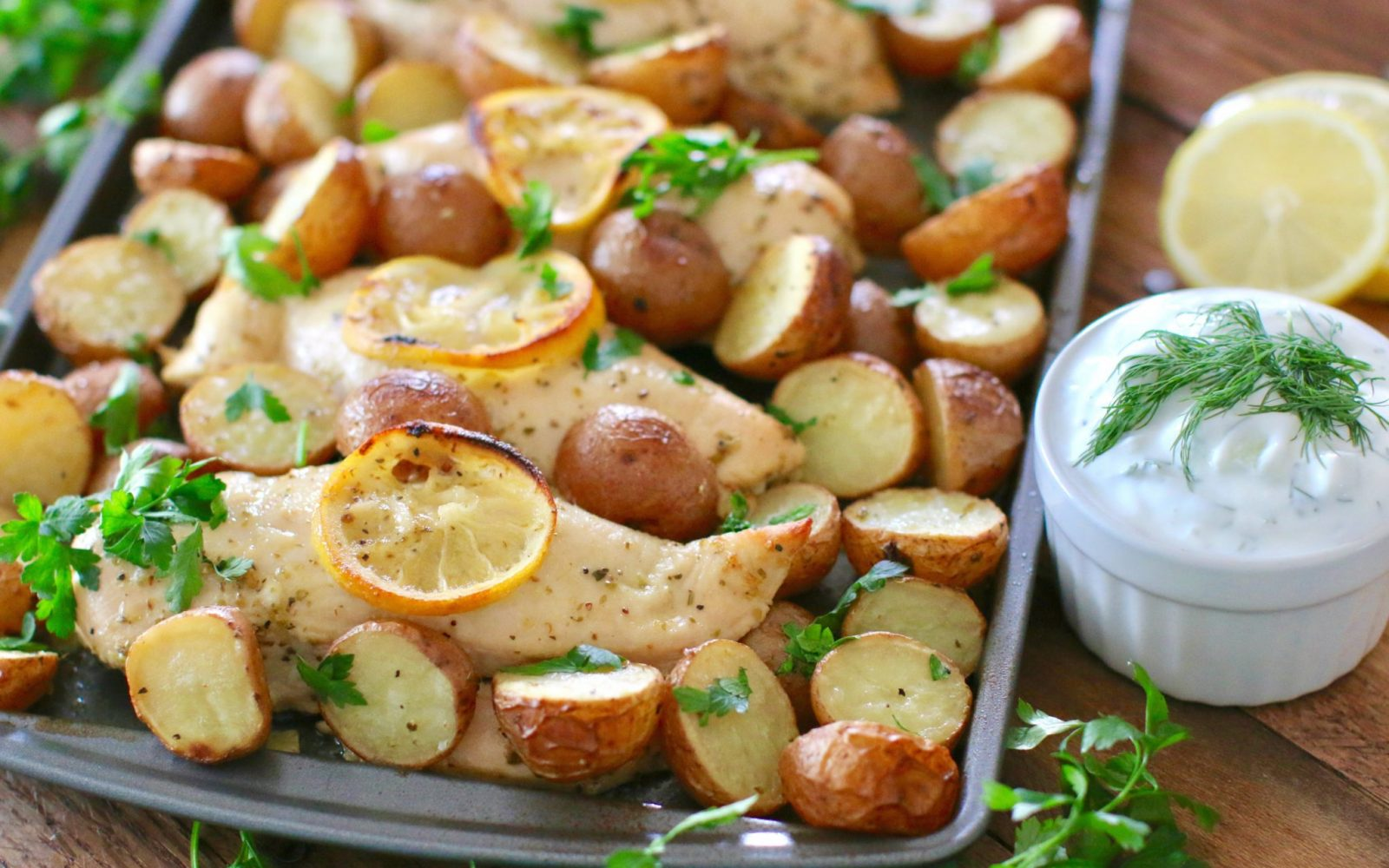 One Pan Greek Lemon Chicken with Little Potatoes