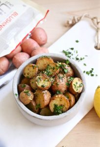 Garlic Potatoes with Parsley in a Grill Basket