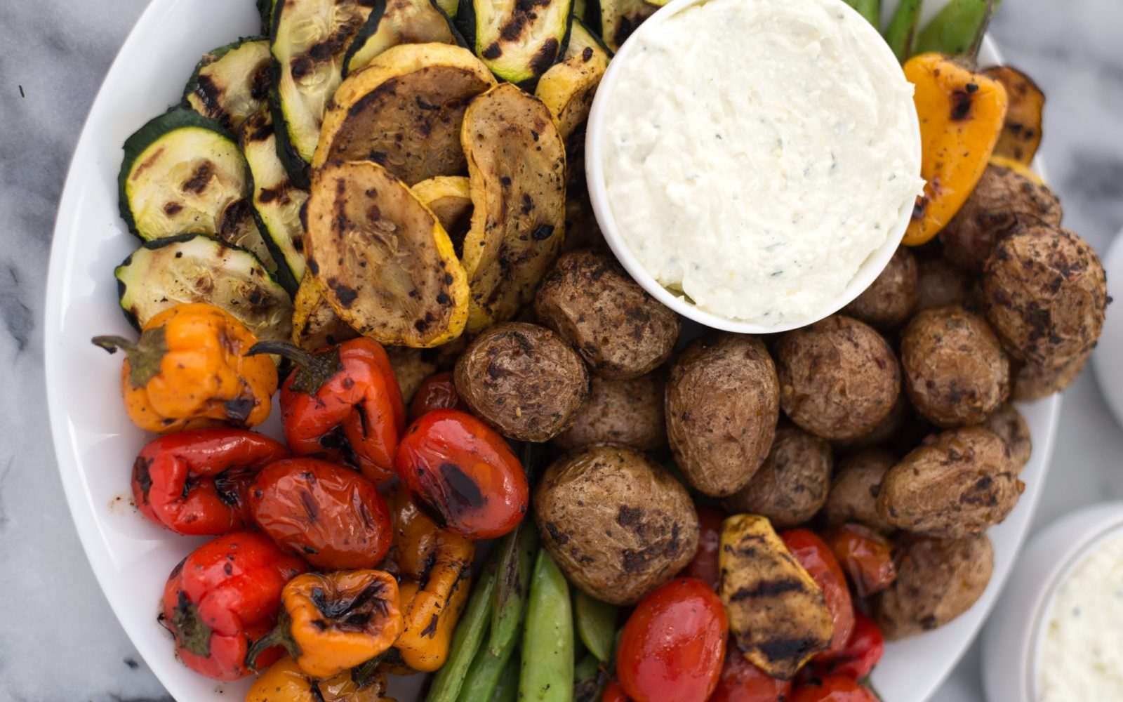 Grilled Vegetable Platter With Lemon-Feta Dip