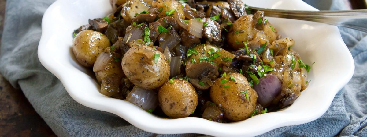 Grilled Potatoes with Rosemary, Mushrooms, and Onions