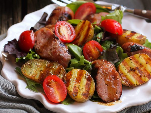 Grilled Sausage, Potato, and Mixed Green Salad - The Little Potato Company