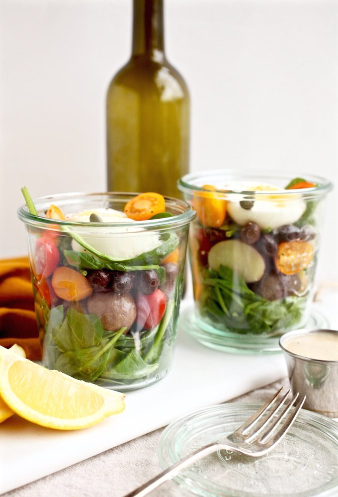 Healthy Niçoise Salad Jars with Roasted Garlic Lemon Dressing