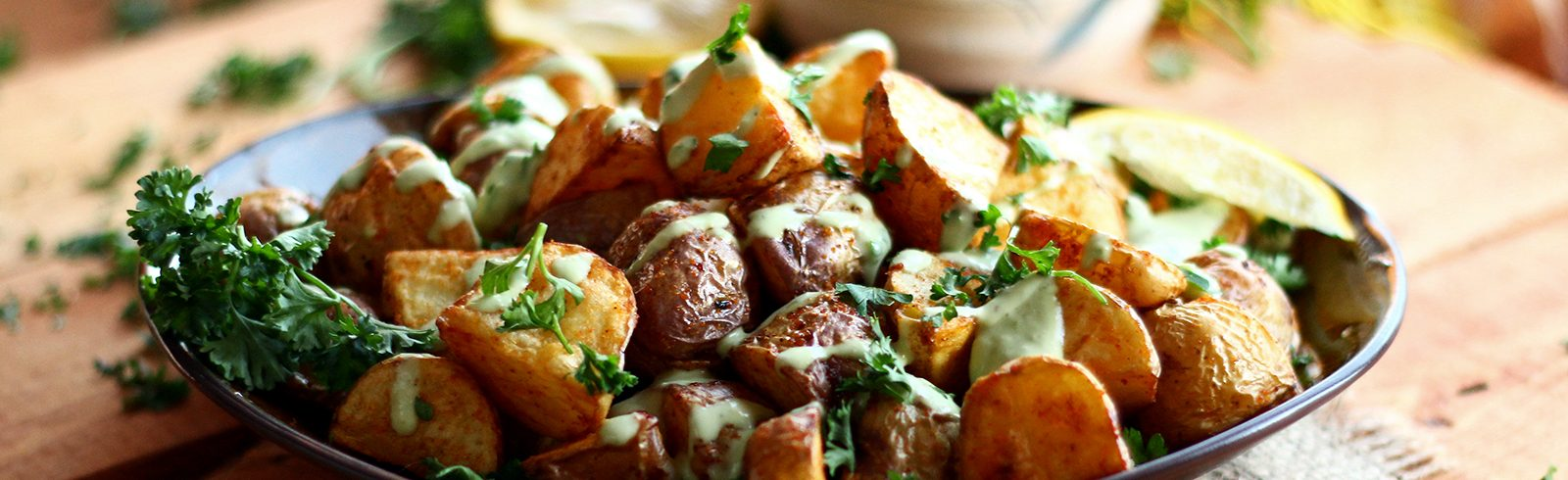 Crispy Potatoes with Garlic Lemon Avocado Aioli