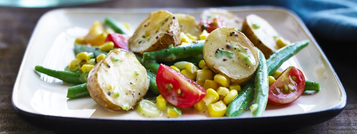 Corn and Tomato Salad with Roasted Potatoes