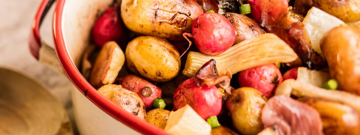 Roasted Creamer Potatoes with Radishes, Fennel, and Prosciutto