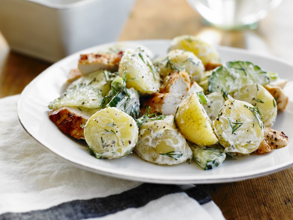 Chicken Breast with Dill Potato and Cucumber Salad