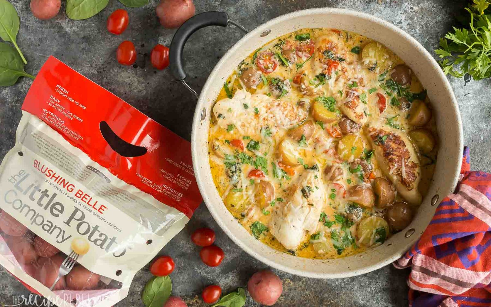 One Pan Tuscan Chicken and Potato Skillet