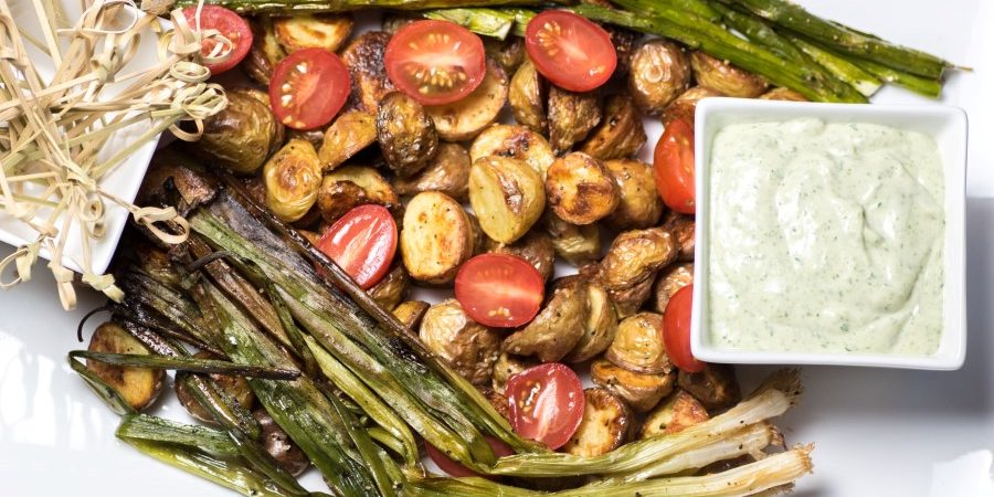 Roasted Potato Appetizer with Green Goddess Dip