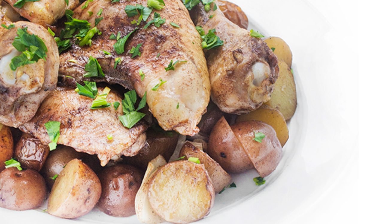 Lebanese Roasted Chicken and Potatoes