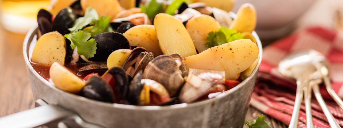 Seafood Soup with Mussels, Clams and Potatoes