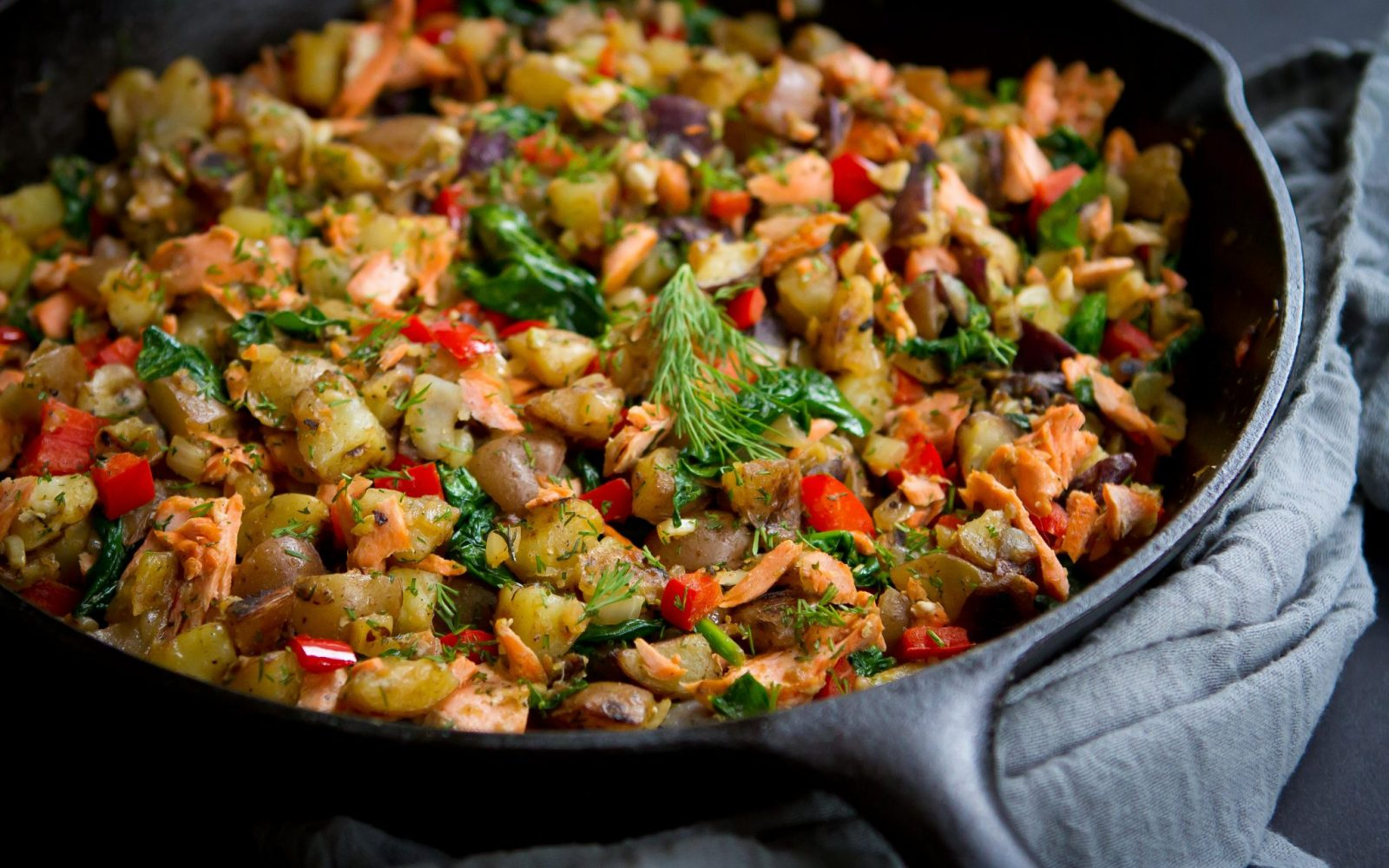 Skillet Salmon Potato Hash