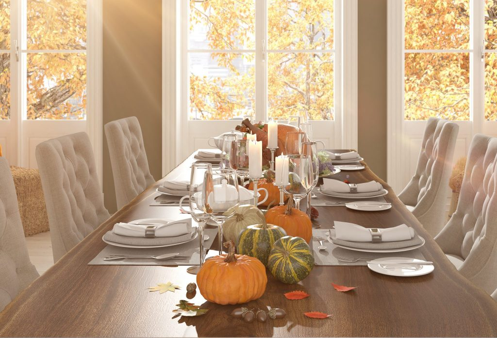 Thanksgiving dinner table setting, pumpkin decor 2