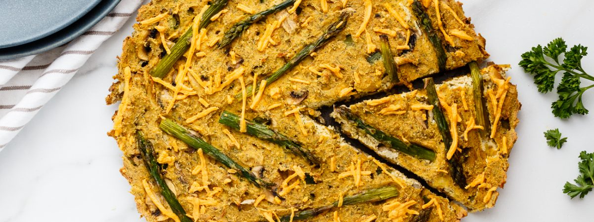 Vegan Asparagus and Mushroom Quiche with Hash Brown Crust