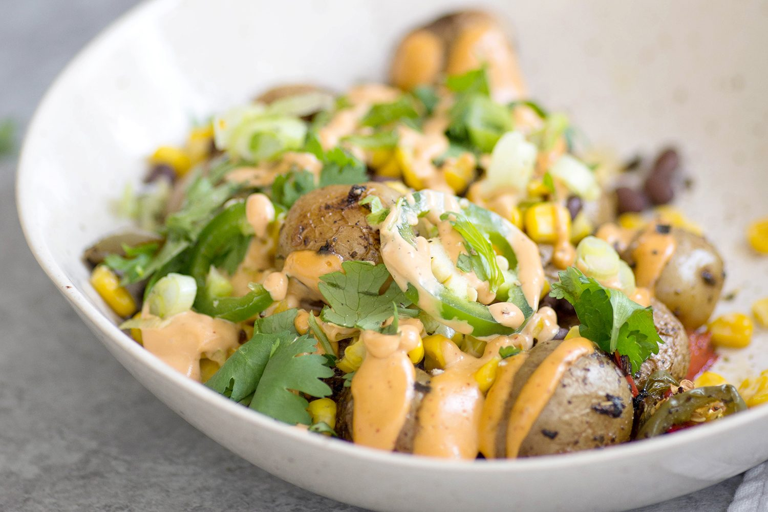 Vegan Grilled Potato Nacho Bowls