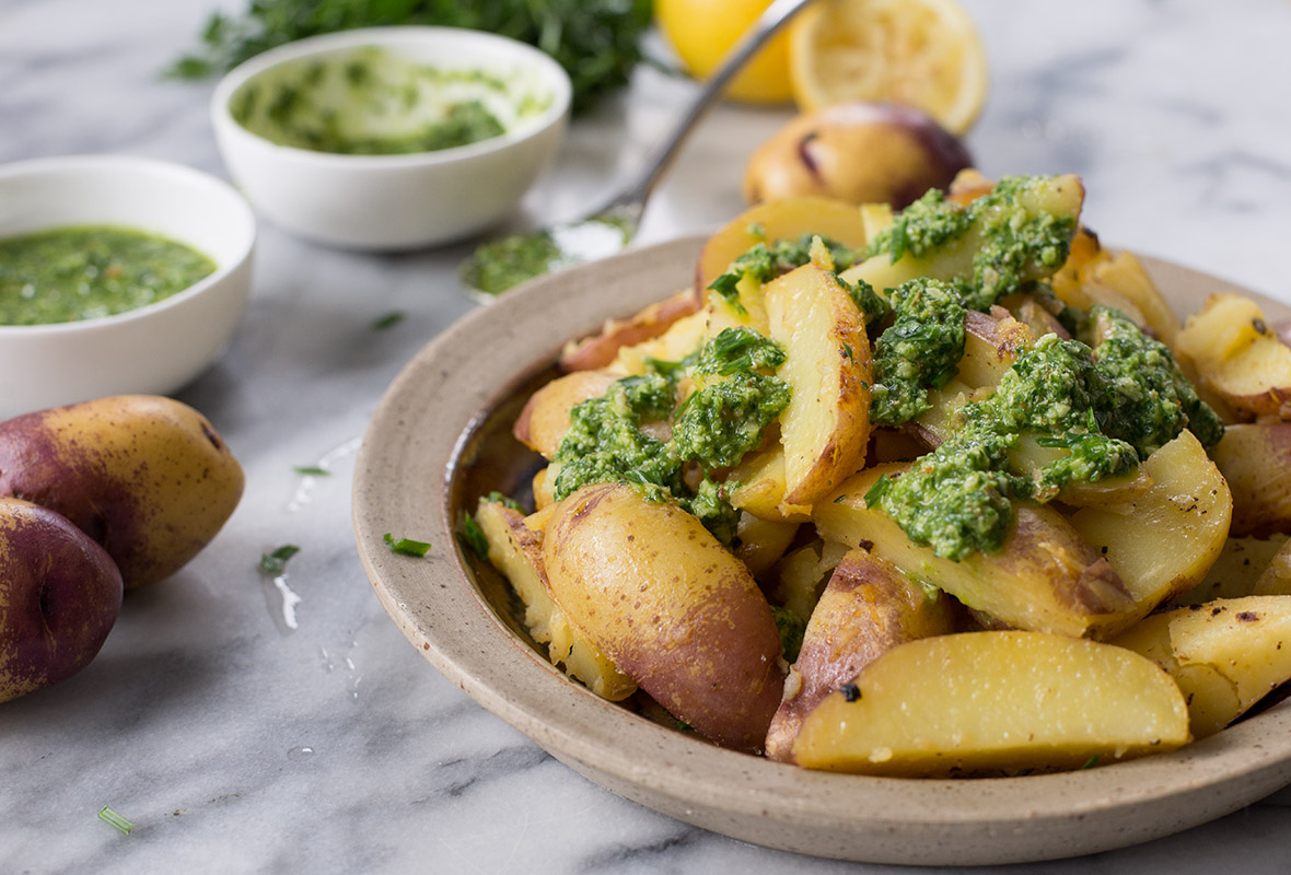Lemon Potatoes with Chive Pesto