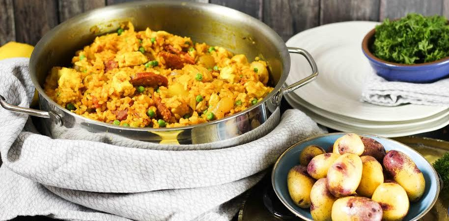 Chorizo Chicken Paella with Potatoes