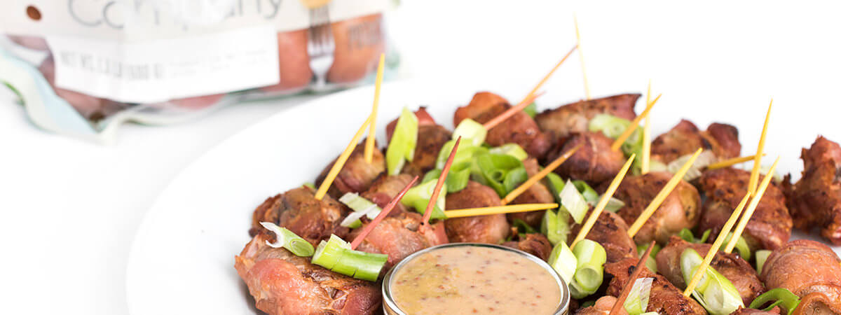 Bacon Wrapped Potato Bites with Honey Mustard Dipping Sauce