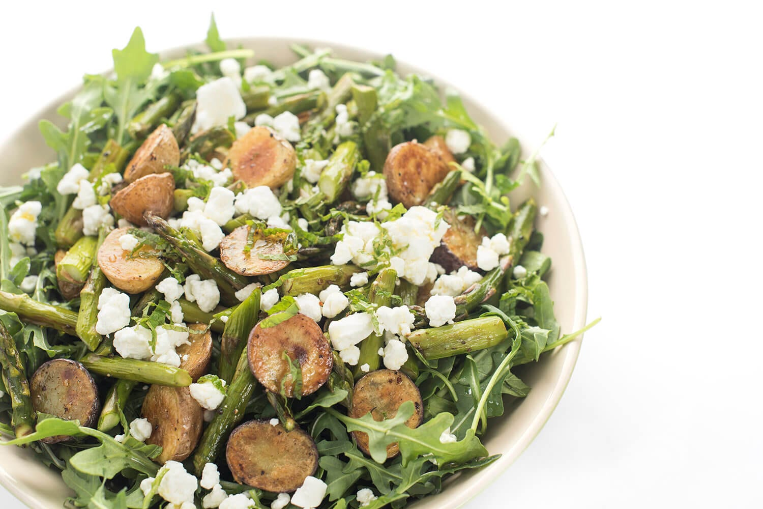 Arugula Salad with Roasted Potatoes, Asparagus, and Goat Cheese
