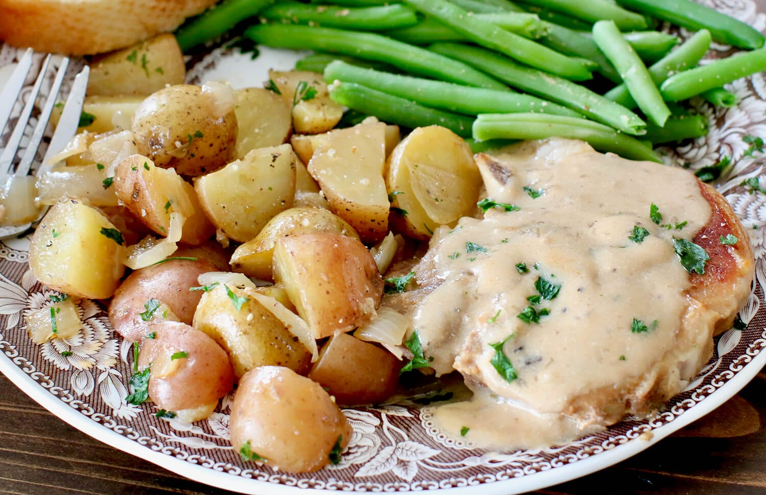 Instant Pot Smothered Pork Chops and Little Potatoes