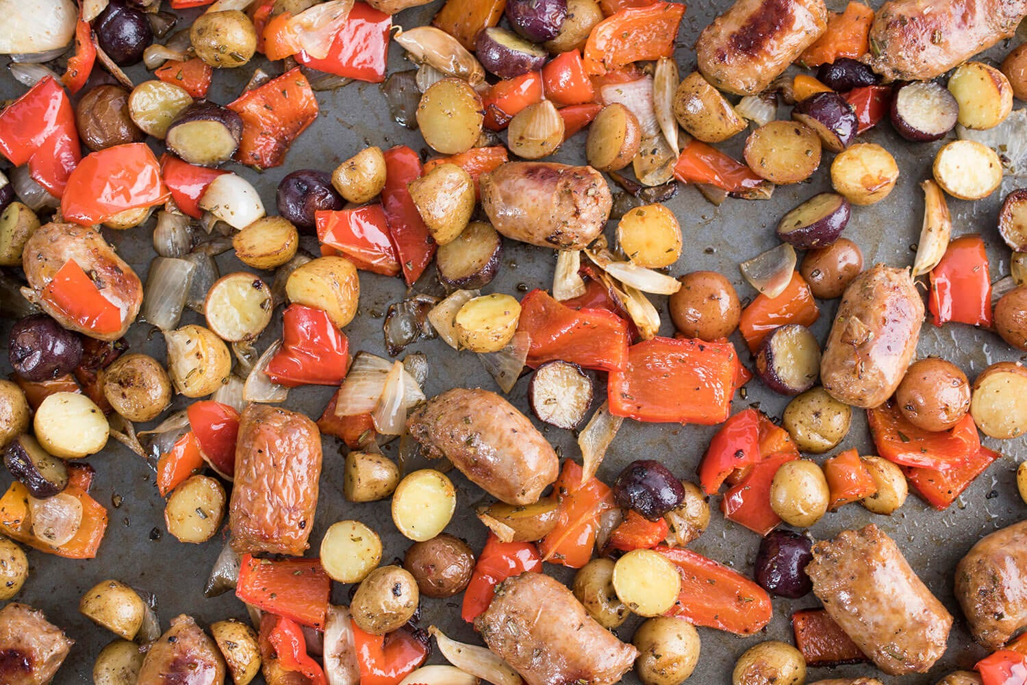 Sheet Pan Sausage, Peppers and Potatoes