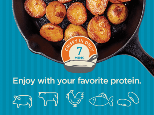 Showing that you can enjoy Easy Sides with your favourite protein, icons of animals and plant based proteins