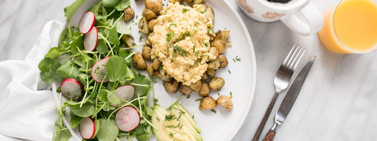 Soft Scrambled Eggs with Oven Roasted Potatoes