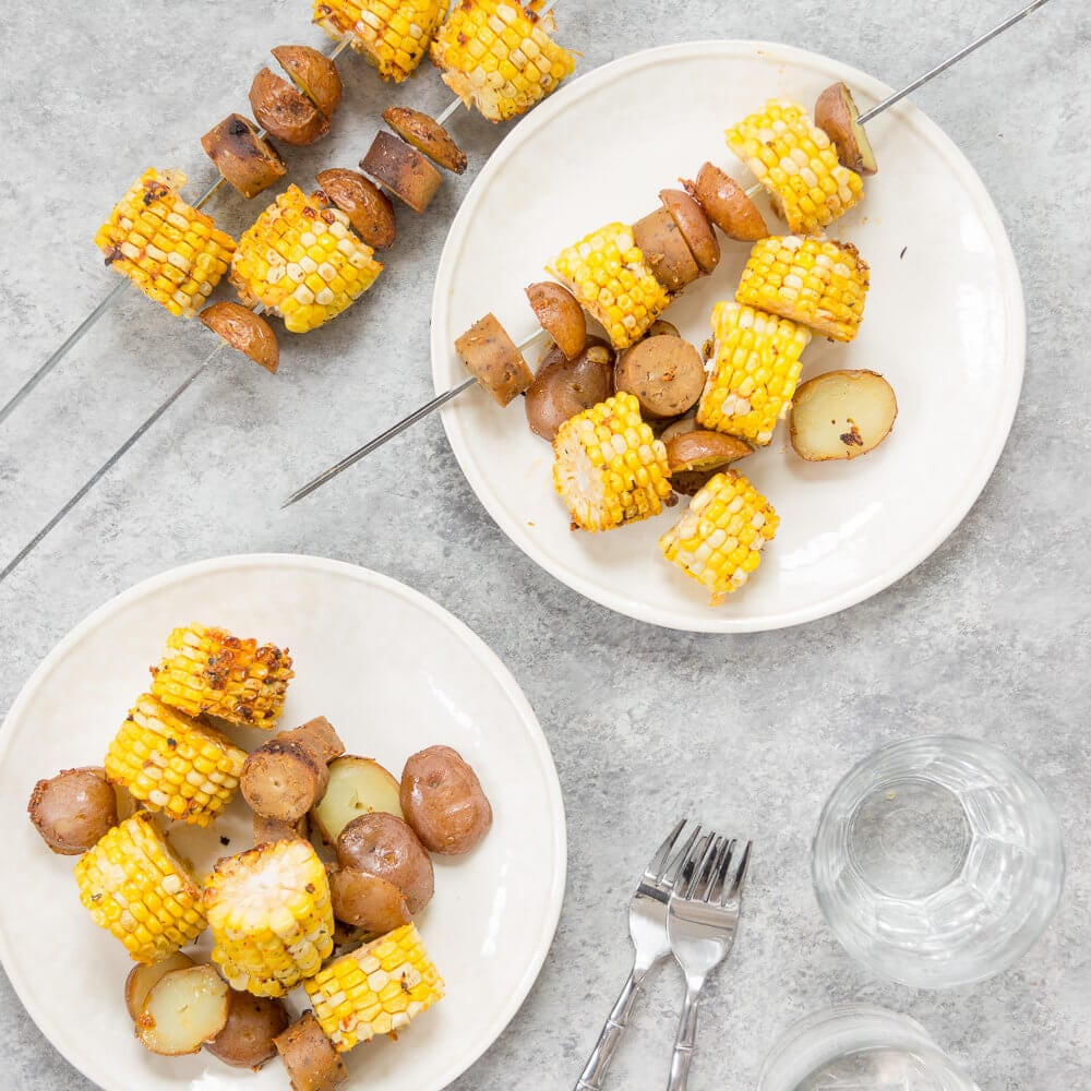 Cajun Potato, Corn, and Sausage Kebabs