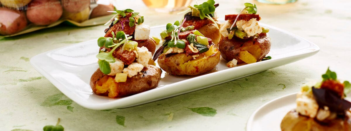 Grilled Creamer Potatoes and Chorizo Tapas