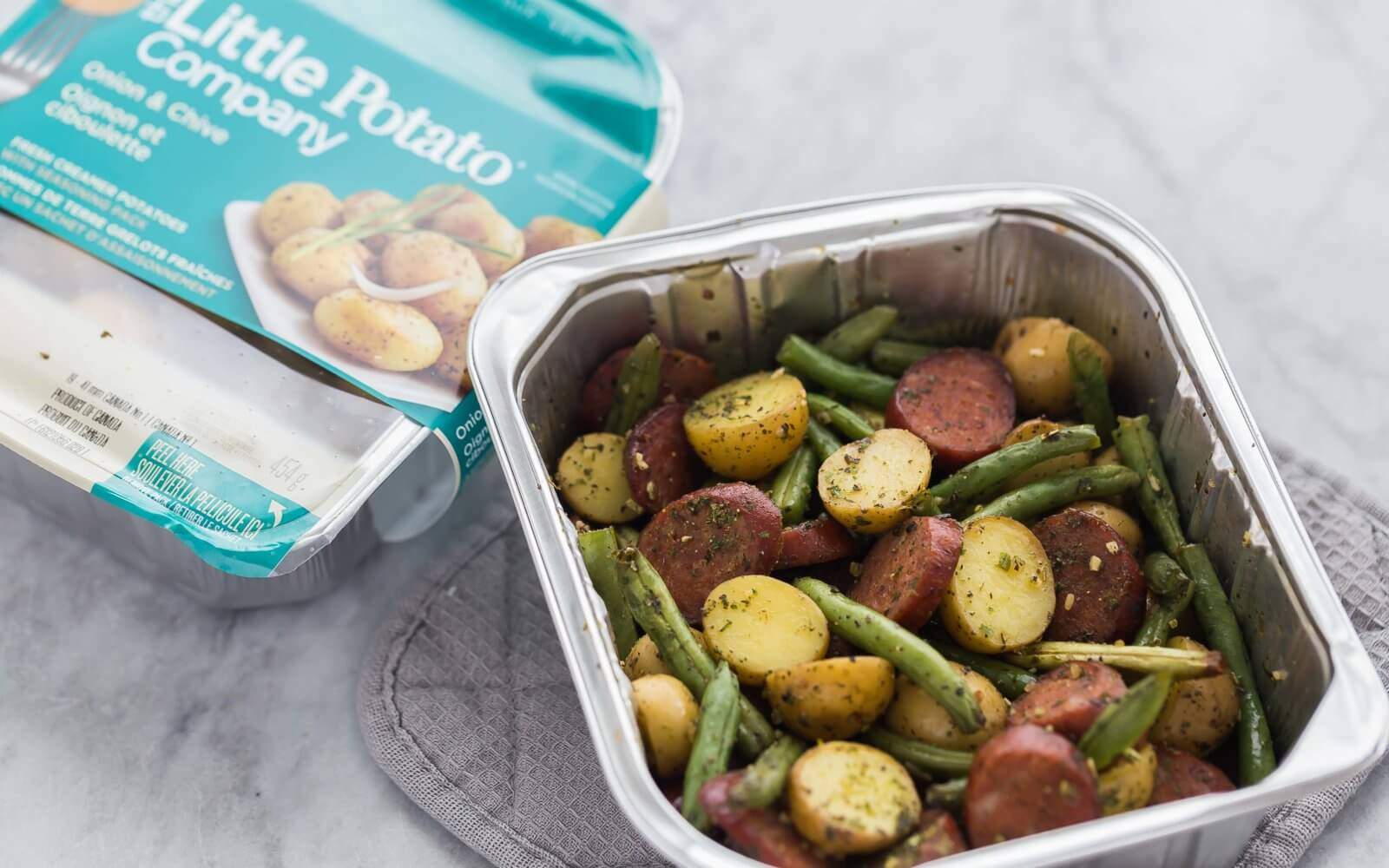 One Pan Sausage, Potatoes, and Green Beans