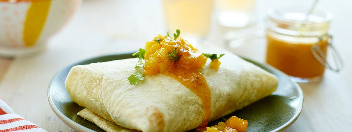 Caribbean Burritos with Chicken and Mango Chutney