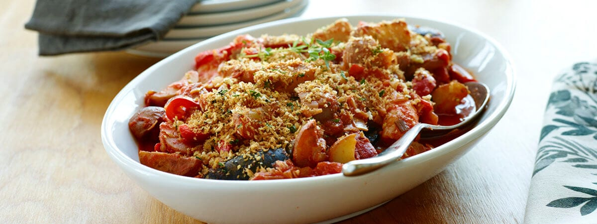 Shrimp, Potato, and Vegetable Mediterranean Casserole