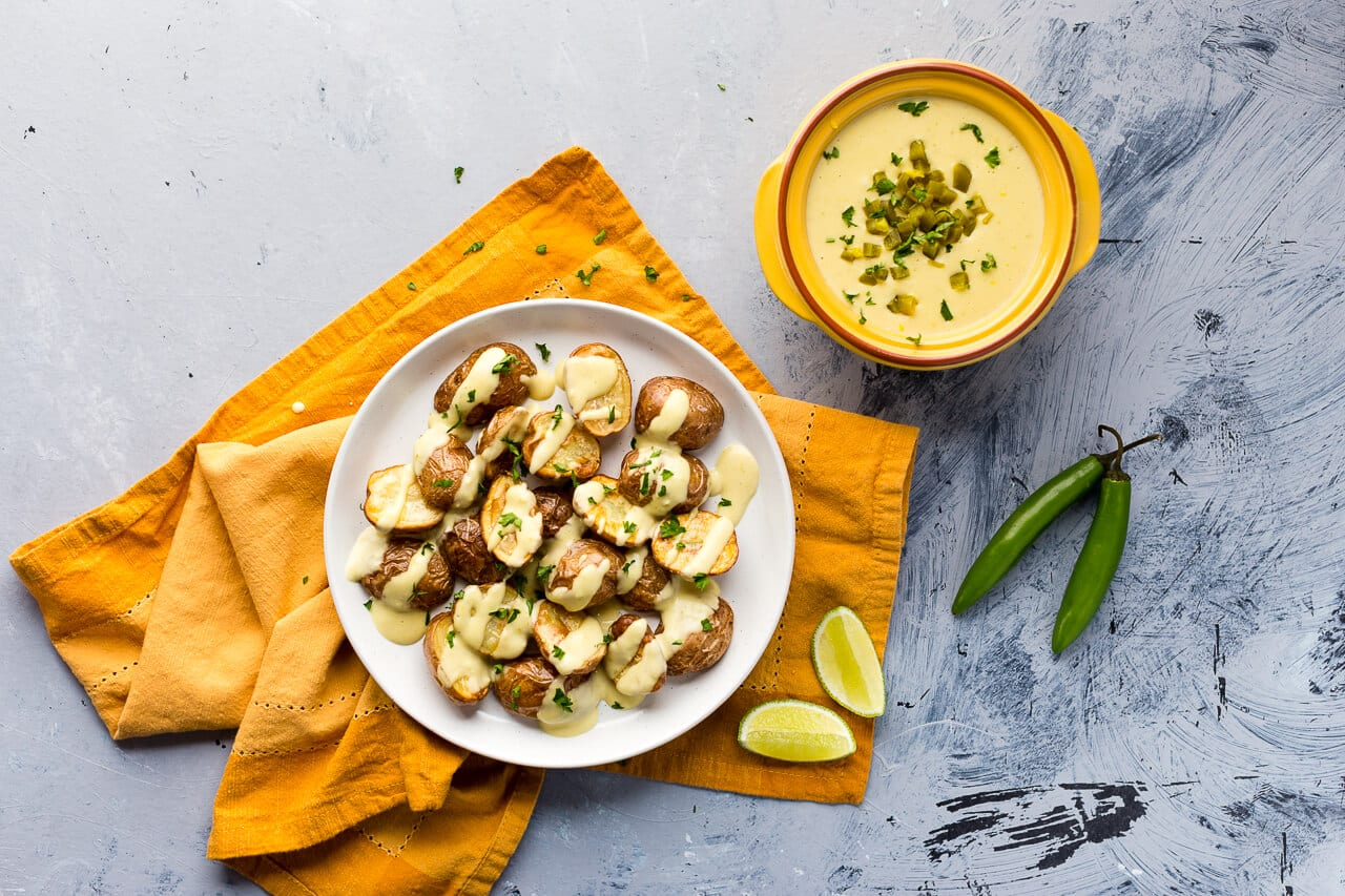 Vegan Chile Con Queso Potatoes