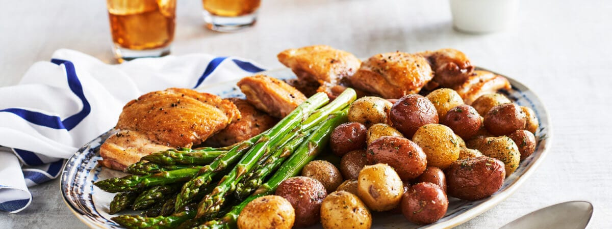 Easy Peazy One Sheet Little Potatoes and Herbed Chicken