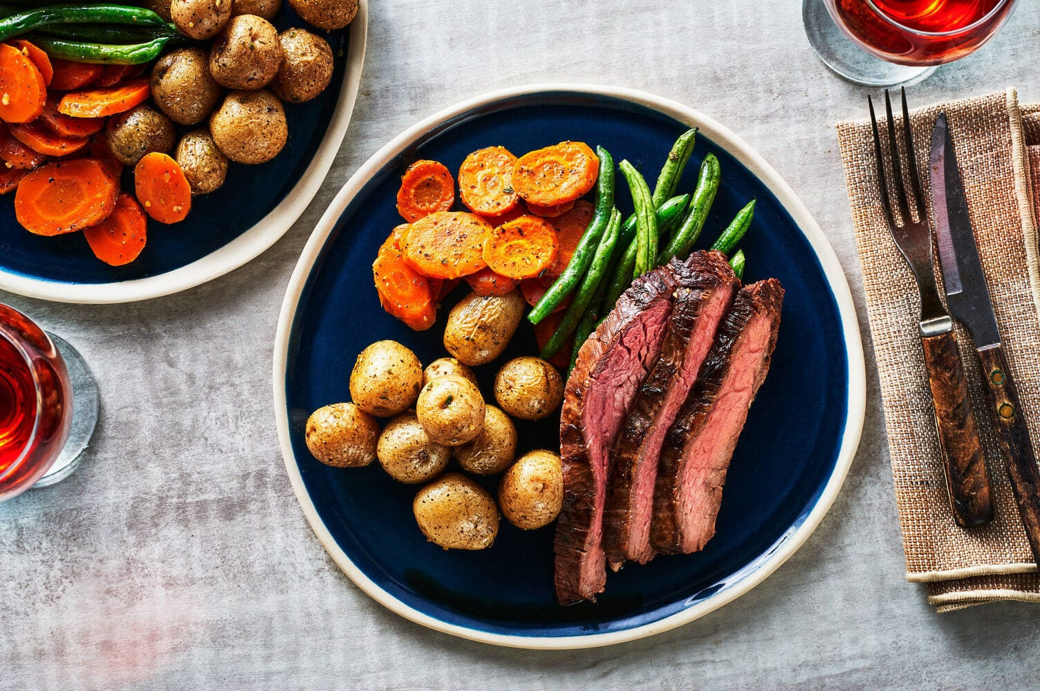Onion and Chive Potatoes with Flank Steak