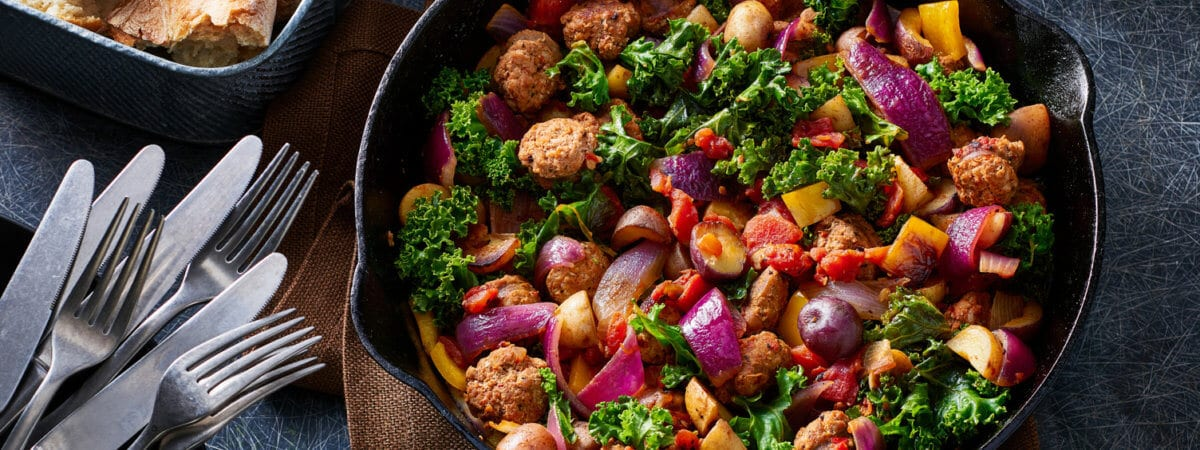 Terrific Trio Potatoes with Sausage, Kale, and Peppers
