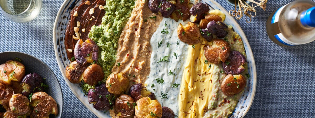 Smashed Potatoes with Chickpea Delight Dip