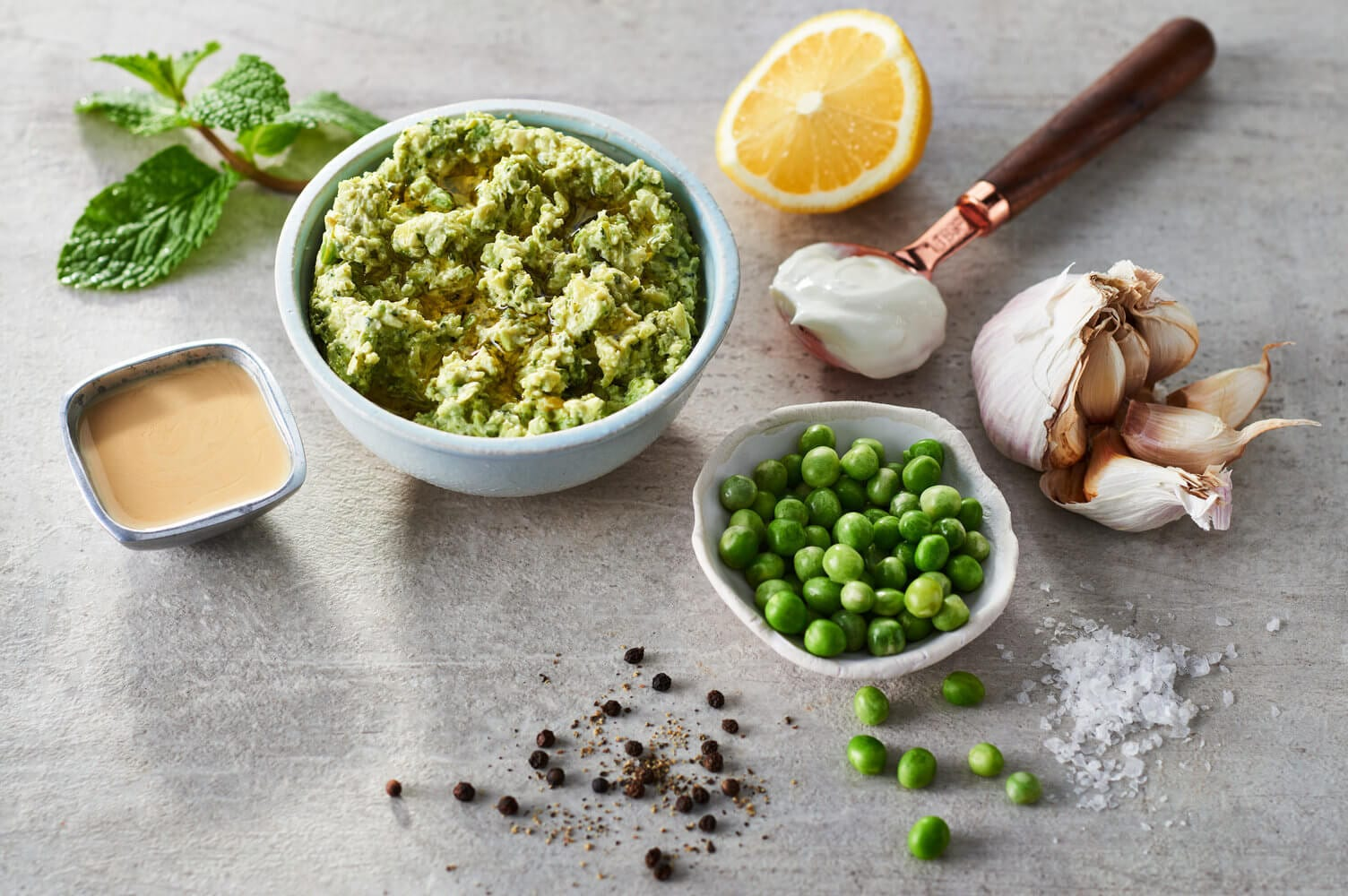 Smashed Potatoes with Green Peas and Mint Dip