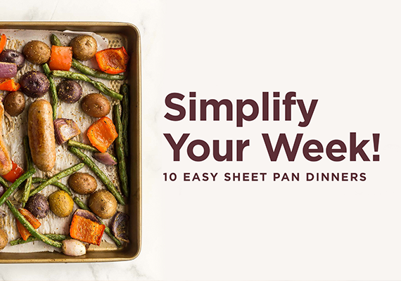 A sheet pan meal with 'simplify your week' written on it.