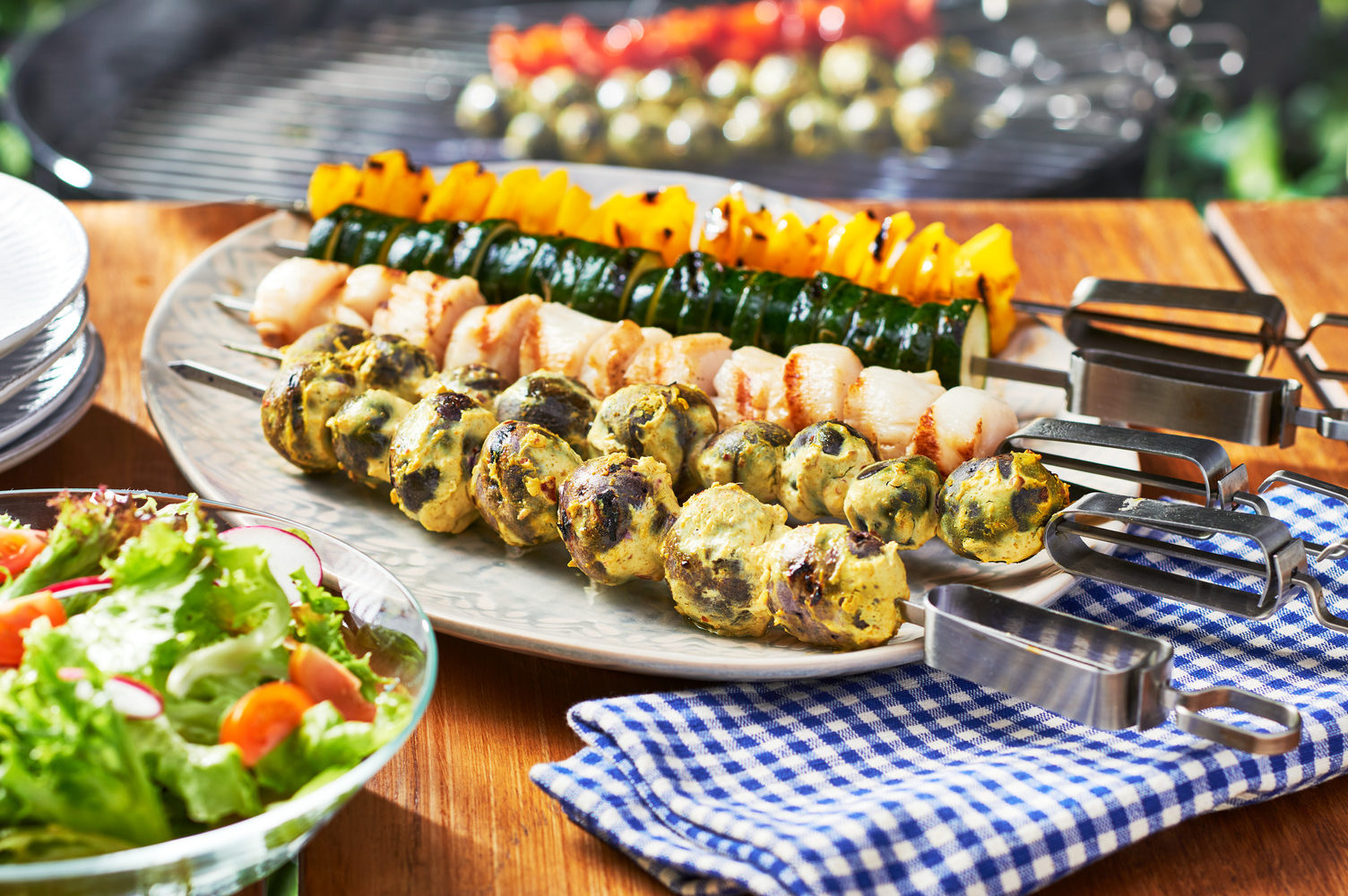 Grilled Veggie and Scallop Kebabs